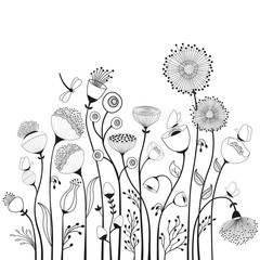 Abstract flowers and butterflies in black and white