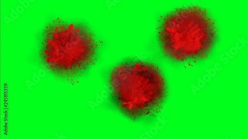 Blood Splatter On A Green Screen