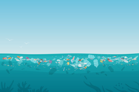 Plastic pollution trash on sea surface with different kinds of garbage - plastic bottles, bags, wastes floating in water. Sea ocean water pollution background concept vector illustration.