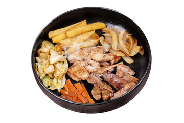 Isolated of  Fried teriyaki chicken with butter potato and herb.