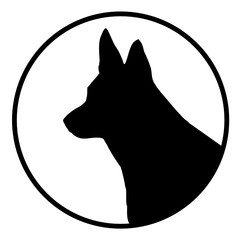 Schäferhund symbol. Deutscher Schäferhund Kopf vektor