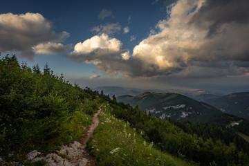 Rocky path on hike Dambocksteig from Schneeberg, highest peak Kosterwappen, along Waxriegel to Puchberg through grassy rax plateau in the cloudy sunset, Raxalpe, Lower Austria