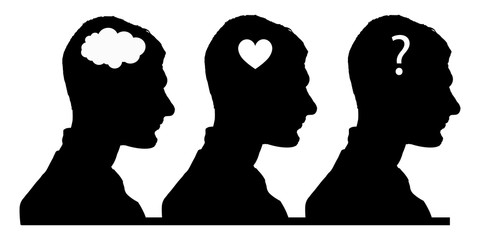 selection concept. brain, heart or soul