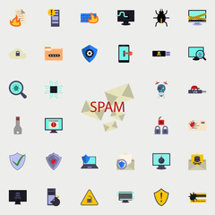 The spam of the letter icon. Virus Antivirus icons universal set for web and mobile
