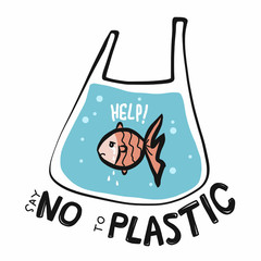 Fish say no to plastic cartoon vector illustration doodle style
