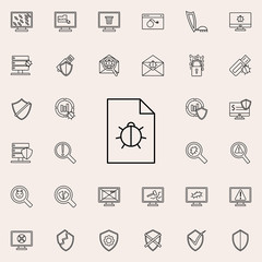 beetle in the document icon. Virus Antivirus icons universal set for web and mobile