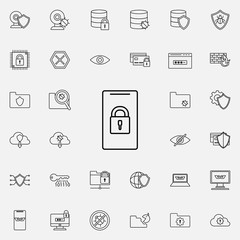 lock in a smart phone icon. Virus Antivirus icons universal set for web and mobile