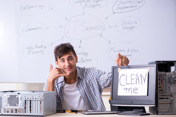 Young it specialist in front of the whiteboard