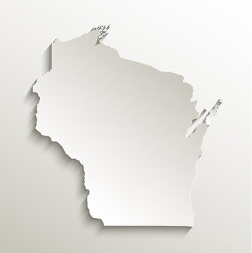 Wisconsin map card paper 3D natural vector