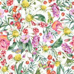 Watercolor Summer Seamless Pattern with Chamomile, Berries, Wildflowers, Blackberry and Butterflies. Natural Floral Illustration on White Background