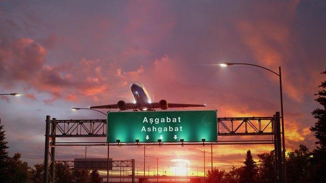 Airplane Take off Ashgabat during a wonderful sunrise