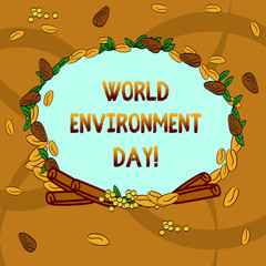Text sign showing World Environment Day. Conceptual photo awareness and the protection of our environment Wreath Made of Different Color Seeds Leaves and Rolled Cinnamon photo