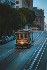 San Francisco Cable Car on California Street at twilight, California, USA