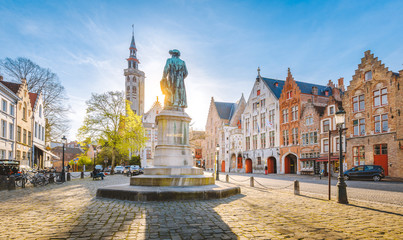 Jan van Eyck square at sunset, Brugge, Flanders region, Belgium Wall mural