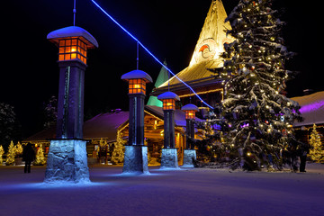 Santa Claus Village in Rovaniemi with blue line marking Arctic Circle, Lapland Finland,