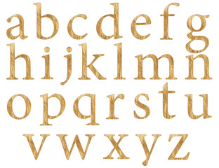 Set of english alphabet letters in lowercase, gold texture, isolated on white background, 3d illustration