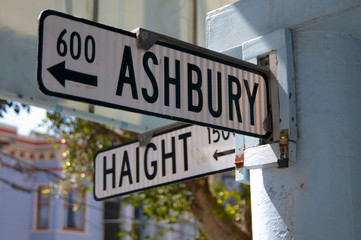 Street sign at the intersection of Haight and Ashbury, in San Francisco USA