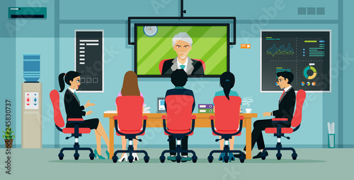 Businessmen and employees have meetings via video conferencing