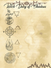 Witch diary page 20 of 31 with four nature elements water, earth, fire and air. Magic wiccan old book with occult illustration, mystic vector background