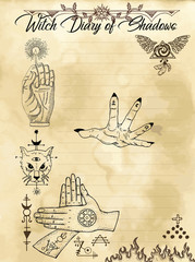 Witch diary page 22 of 31 with magician hands, mystic cat and esoteric symbols. Magic wiccan old book with occult illustration, mystic vector background
