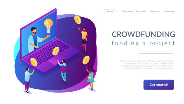 Businessman with idea on laptop rasing money via internet to support project. Crowdfunding, crowdsourcing project, alternative financing concept. Isometric 3D website app landing web page template