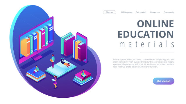 Huge computer and smartphone with a lot of books and students using e-library. E-library, online education materials, media files library concept. Isometric 3D website app landing web page template