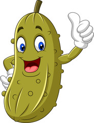 Cartoon happy pickle giving a thumb up