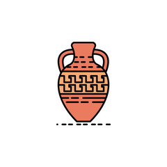 pot, pottery, decoration, Greek icon. Element of history color icon for mobile concept and web apps. Color pot, pottery, decoration, Greek icon can be used for web and mobile