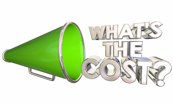 Whats the Cost Bullhorn Megaphone Words Question 3d Illustration