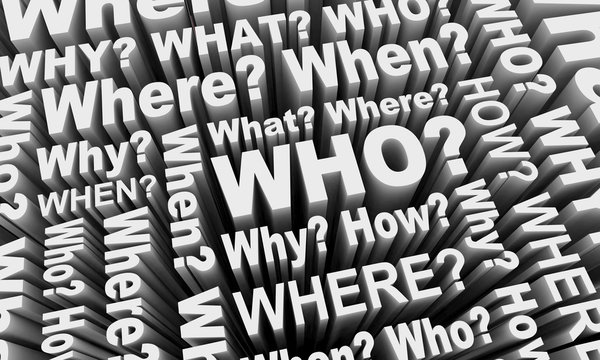 Who What Where When Why How Words Collage 3d Illustration