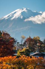 Mount Fuji View in Autumn from a resort town called Fujikawaguchiko in Japan.