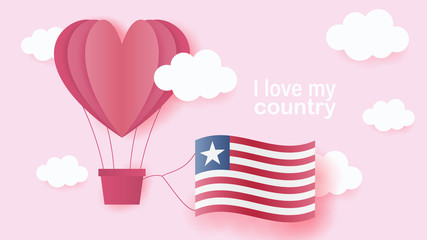 Hot air balloons in shape of heart flying in clouds with national flag of Liberia. Paper art and cut, origami style with love to Liberia