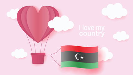 Hot air balloons in shape of heart flying in clouds with national flag of Libya. Paper art and cut, origami style with love to Libya