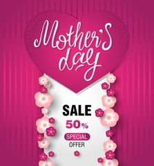 Mothers day sale banner with floral decoration