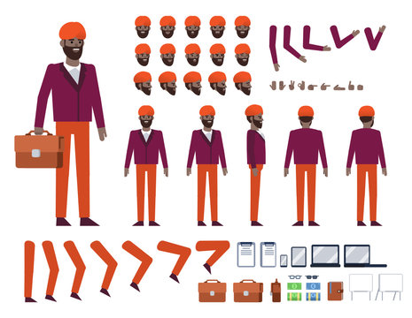 Indian businessman with turban creation kit. Create your own action, pose, animation. Various design elements, gestures, avatars. Flat design vector illustration