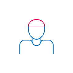 Islam, muslim man  2 colored line icon. Simple blue and red element illustration. Islam, muslim man  concept outline symbol design from Islam set