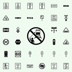 no selfie icon. Railway Warnings icons universal set for web and mobile
