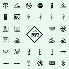 train horn warning sign icon. Railway Warnings icons universal set for web and mobile