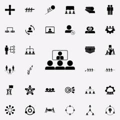 online presentation to colleagues icon. Teamwork icons universal set for web and mobile