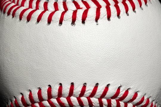 Macro of baseball stitching