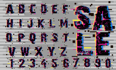 Vector of Glitch Modern Alphabet Letters and numbers, Grunge and Carved linear stylized rounded fonts, Minimal Italic Letters set for Futuristic, universal, Branding Identity, sport