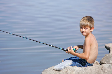 Young Boy Fishing