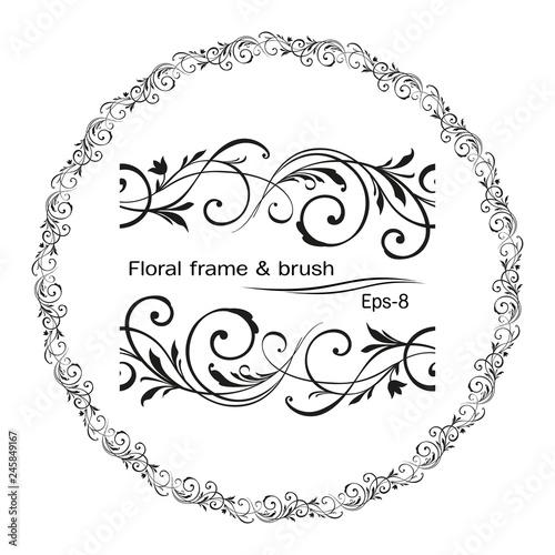 Retro Flower Pattern Antique Style Swirl Decorative Design Element