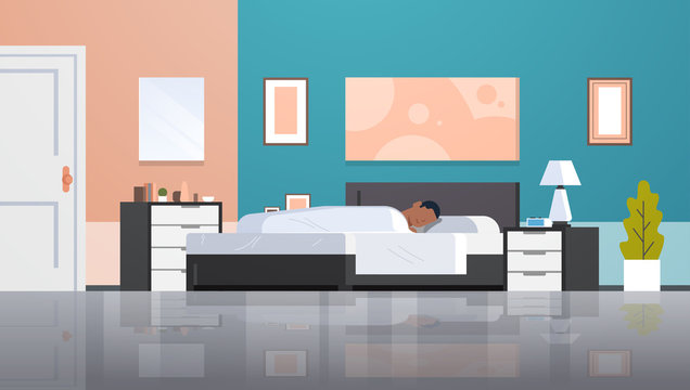 man sleeping in bed covered with quilt lazy african american guy sleep at morning bedroom modern apartment interior male cartoon character flat horizontal full length