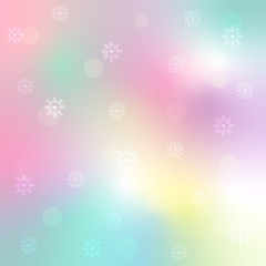 Sweet and beautiful snowflake on colorful pastel gradient background for Merry Christmas and Happy new year celebration. Vector art design with snowfall for xmas wallpaper with copy space.