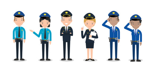 set of police officers on white background, Woman and man cops characters,security in uniform and cap, Police cop and officer security in uniform,vector illustration