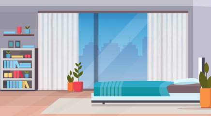 modern home bedroom interior design contemporary bed room empty no people apartment window cityscape background flat horizontal