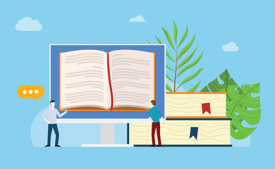 online books reading with open book on the monitor screen with stack and people team read together with blue background - vector