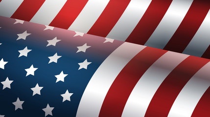 happy presidents day holiday concept waving united states national flag of america flat horizontal