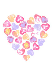 Watercolor hand drawn hearts. Perfect for Valentine's design